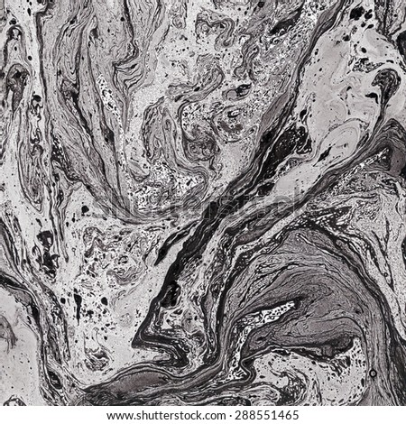 Beautiful marble texture. Black and white background. Handmade surface. Abstract art. Watercolor illustration. Unusual art technique. Artistic design. Creative backdrop. Aquarelle waves. - stock photo