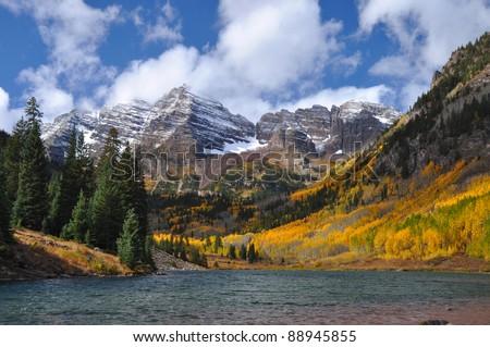 Beautiful Maroon Bells in Autumn 102 - stock photo
