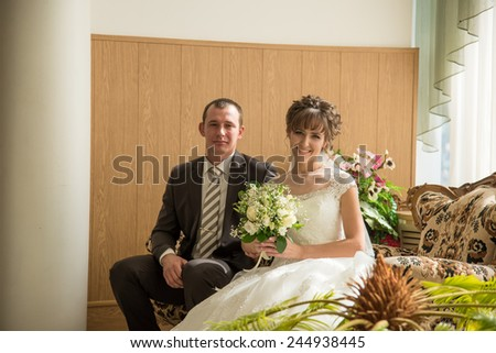 Beautiful married couple in the wedding day