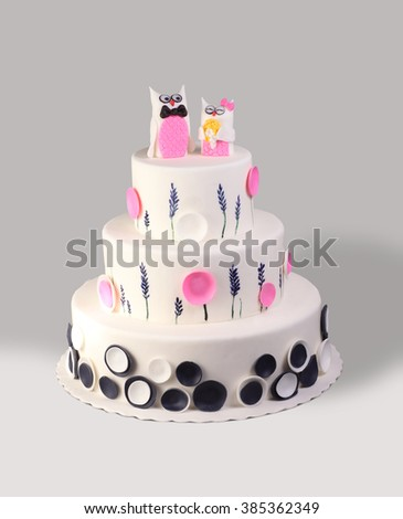 Beautiful Marzipan Cake Isolated On White Background - stock photo
