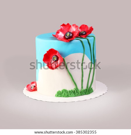 Beautiful Marzipan Cake With Flowers Isolated On White Background - stock photo