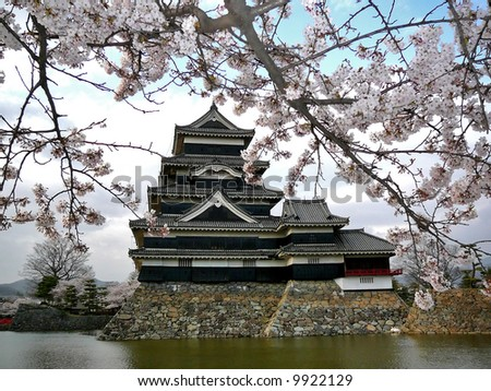 "Beautiful Matsumoto castle during Sakura (cherry blossom). For its dark colour this castle is also called ""Crow's Castle"", as opposed to white Himeji Castle, which is called ""Heron's Castle""."
