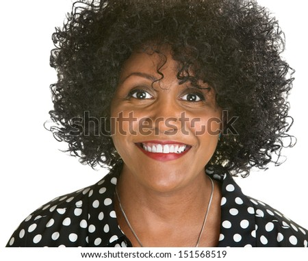 Beautiful mature African woman on isolated white background - stock photo