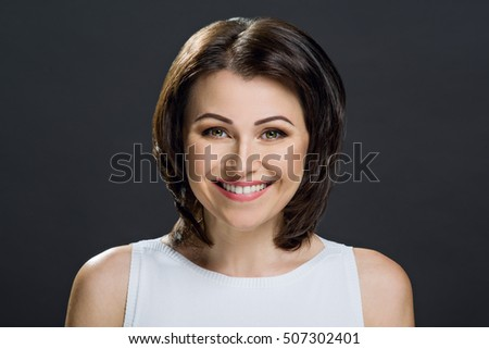 beautiful mature brunette green eyes picture stock photo (royalty