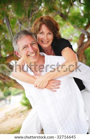 beautiful mature couple in love - stock photo
