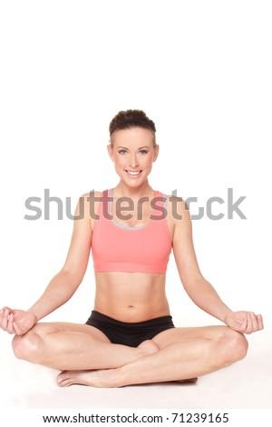 Beautiful Mature Fitness Model In Yoga Pose