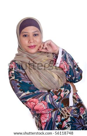 Beautiful mature Muslim woman in scarf - stock photo