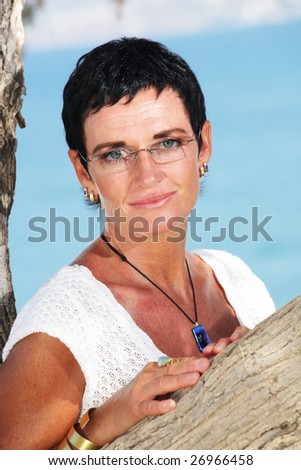 beautiful mature woman - bright lifestyle portrait - stock photo