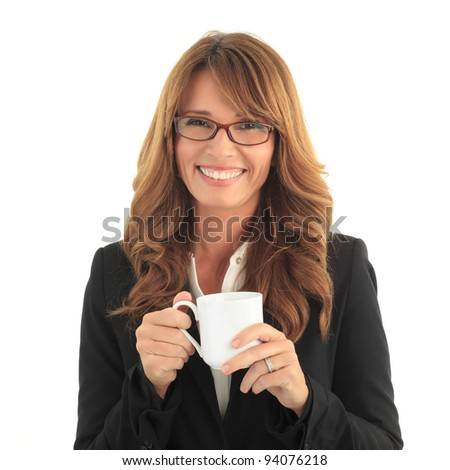 Beautiful mature woman drinking a cup of coffee against white background