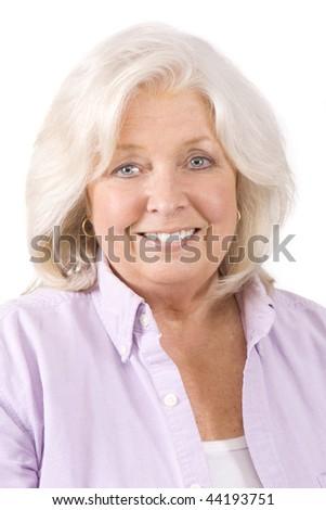 Beautiful mature woman on a white background - stock photo