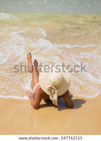 Beautiful mature woman on the beach. Thailand. - stock photo