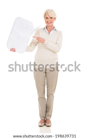 beautiful mature woman pointing at chat box isolated on white - stock photo