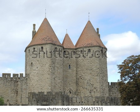 Beautiful medieval castle in Languedoc, France - stock photo