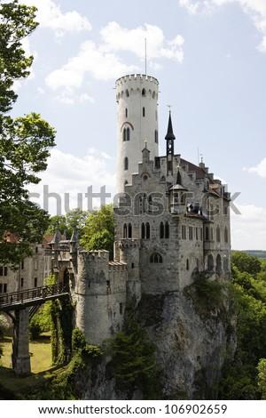 Beautiful medieval castle Lichtenstein, Germany - stock photo
