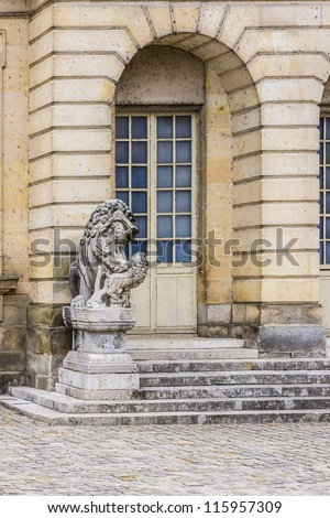Beautiful Medieval landmark - royal hunting castle Fontainbleau. Palace of Fontainebleau - one of largest royal chateaux in France (55 km from Paris), UNESCO World Heritage Site. Architectural details - stock photo