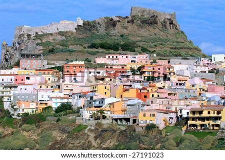 Beautiful medieval town Castelsardo on the north coast of Sardinia island. - stock photo
