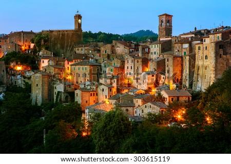 Beautiful medieval town in Tuscany, Sorano-(Grosseto, Tuscany, Italy) - stock photo