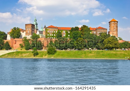 Beautiful medieval Wawel Castle, Cracow, Poland - stock photo