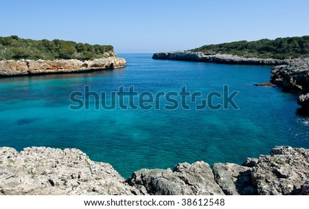 Beautiful Mediterranean bay with blue water on the Majorca
