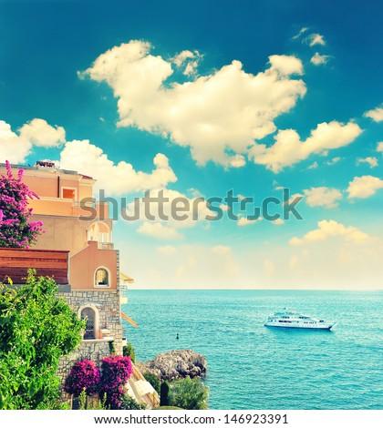 beautiful mediterranean beach landscape, Provence, french riviera, France near Nice and Monaco. retro style picture - stock photo