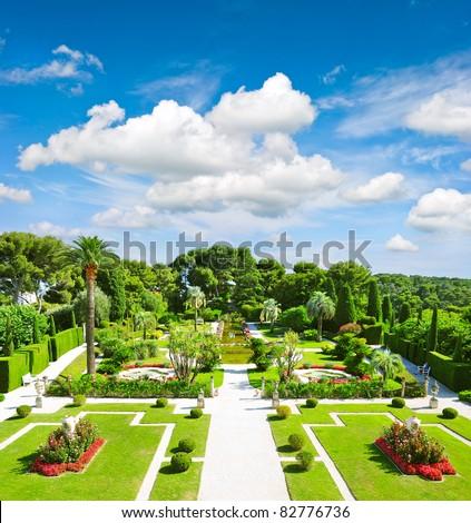 beautiful mediterranean garden on the french riviera - stock photo