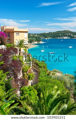 beautiful mediterranean landscape, view of luxury resort and bay of Villefranche-sur-Mer, Cote d'Azur, french riviera, France near Nice and Monaco - stock photo