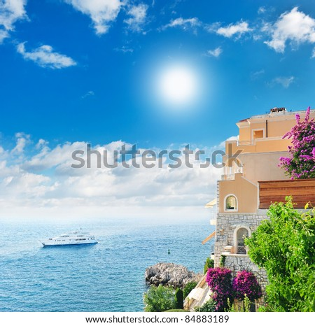 beautiful mediterranean landscape. view of sea and luxury resort of Cote d'Azur in France - stock photo