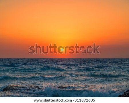 Beautiful Mediterranean sea orange sunset. - stock photo