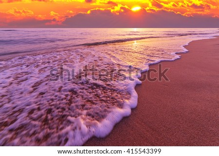 beautiful mediterranean seascape on sunset time - stock photo