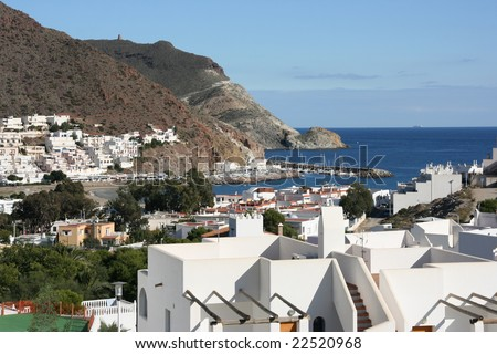 Beautiful Mediterranean seaside town. San Jose in Cabo de Gata natural park near Almeria, Spain.
