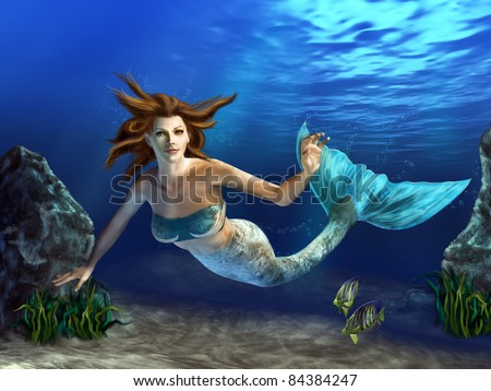 Beautiful mermaid swimming in a blue sea, surrounded by rocks, plants and fishes. Digital illustration. - stock photo