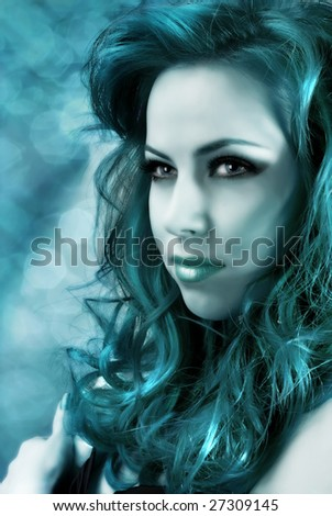 Beautiful mermaid with long hair and brilliance skin - stock photo