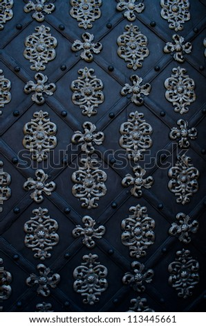 beautiful metal gate of ancient castle - stock photo
