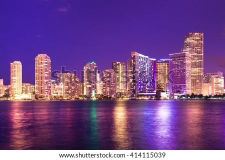 Beautiful Miami Florida skyline with lights and bay