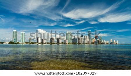 Beautiful Miami skyline along Biscayne Bay. - stock photo