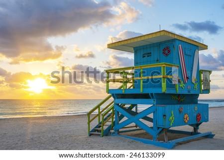 Beautiful Miami South Beach sunrise with lifeguard tower, USA. - stock photo