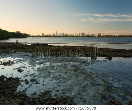 Beautiful Miami sunset showing you the city's wild side, from Key Biscayne - stock photo