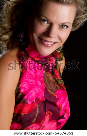 Beautiful middle aged woman smiling - stock photo
