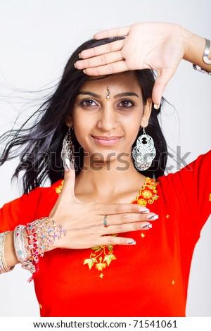 beautiful middle east woman studio portrait - stock photo