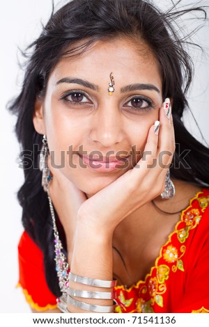 beautiful middle eastern woman studio portrait - stock photo