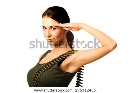 Beautiful military woman making salute gesture. - stock photo