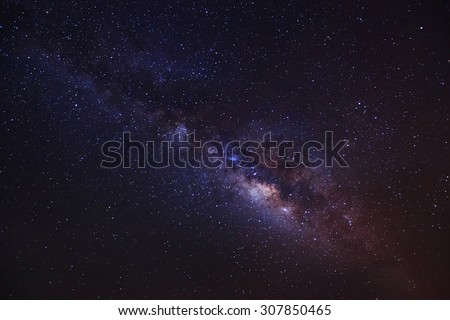beautiful milkyway on a night sky, Long exposure photograph, with grain  - stock photo