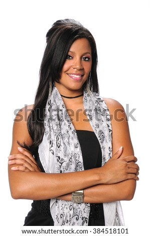 Beautiful millennial African American businesswoman smiling isolated over white background - stock photo