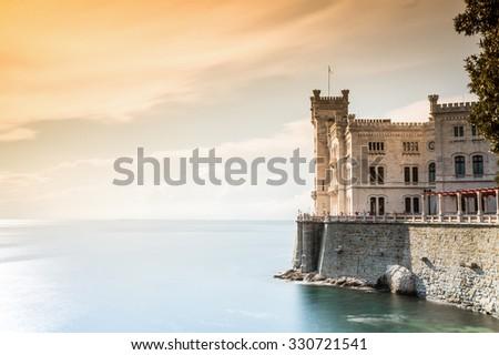Beautiful Miramare Castle of Trieste, Italy . - stock photo