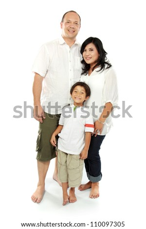Beautiful mixed race family - isolated over a white background - stock photo