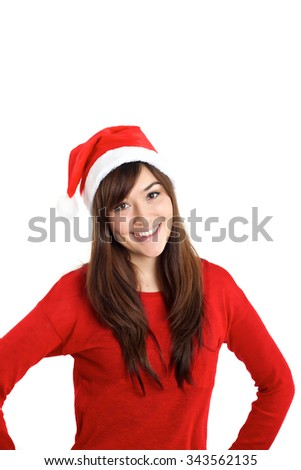 Beautiful mixed race girl as Christmas Santa Claus on white background - stock photo