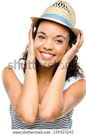 Beautiful mixed race Woman smiling portrait isolated on white background - stock photo