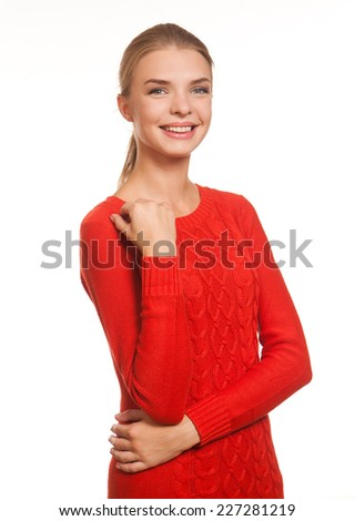 Beautiful mode  in the red dress posing isolated on the white background - stock photo