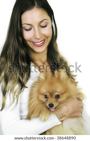 Beautiful model  and little adorable  spitzen dog