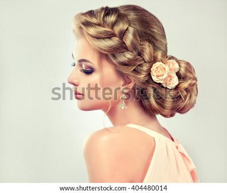 Beautiful Model Girl Elegant Hairstyle Rose Stock Photo - Haircut girl model